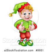Vector Illustration of a Happy Caucasian Male Christmas Elf Giving Two Thumbs up by AtStockIllustration