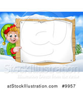 Vector Illustration of a Happy Caucasian Male Christmas Elf Pointing Aorund a Blank Sign in a Winter Landscape by AtStockIllustration