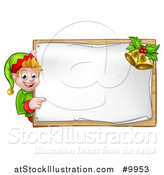 Vector Illustration of a Happy Caucasian Male Christmas Elf Pointing Aorund a Blank Sign with Bells by AtStockIllustration
