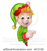 Vector Illustration of a Happy Caucasian Male Christmas Elf Pointing Around a Sign by AtStockIllustration