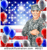 Vector Illustration of a Happy Caucasian Male Military Veteran over an American Flag and Balloons by AtStockIllustration