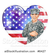 Vector Illustration of a Happy Caucasian Male Military Veteran over an American Flag Heart and Flares by AtStockIllustration