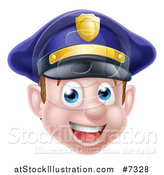 Vector Illustration of a Happy Caucasian Male Police Officer Face by AtStockIllustration