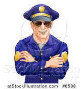 Vector Illustration of a Happy Caucasian Male Police Officer with Folded Arms, Wearing Sunglasses and Smiling by AtStockIllustration