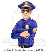 Vector Illustration of a Happy Caucasian Male Police Officer with Folded Arms, Wearing Sunglasses and Smiling, Tilted Slightly Left by AtStockIllustration