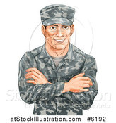 Vector Illustration of a Happy Caucasian Male Soldier in Camouflage, with Folded Arms by AtStockIllustration