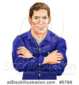 Vector Illustration of a Happy Caucasian Man with Folded Arms by AtStockIllustration