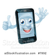Vector Illustration of a Happy Cell Phone Character Waving and Giving a Thumb up by AtStockIllustration