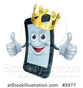 Vector Illustration of a Happy Cell Phone Mascot Wearing a Crown and Holding Two Thumbs up by AtStockIllustration