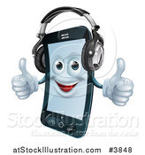 Vector Illustration of a Happy Cell Phone Mascot Wearing Headphones and Holding Two Thumbs up by AtStockIllustration