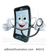Vector Illustration of a Happy Cell Phone Wearing a Stethoscope and Holding a Thumb up by AtStockIllustration