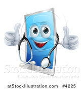 Vector Illustration of a Happy Cell Phone Wearing a Stethoscope and Holding Two Thumbs up by AtStockIllustration
