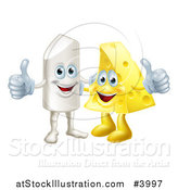 Vector Illustration of a Happy Chalk and Cheese Holding Thumbs up by AtStockIllustration