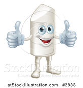 Vector Illustration of a Happy Chalk Mascot Holding Two Thumbs up by AtStockIllustration