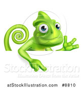 Vector Illustration of a Happy Chameleon Lizard Waving or Presenting and Pointing down over a Sign by AtStockIllustration