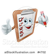 Vector Illustration of a Happy Checklist Clipboard Mascot Holding a Thumb up and a Pencil by AtStockIllustration
