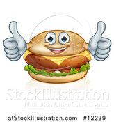 Vector Illustration of a Happy Cheese Burger Mascot Holding Two Thumbs up by AtStockIllustration