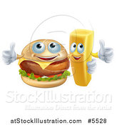 Vector Illustration of a Happy Cheeseburger and French Fry Holding Thumbs up by AtStockIllustration