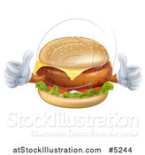 Vector Illustration of a Happy Cheeseburger Character Holding Two Thumbs up by AtStockIllustration