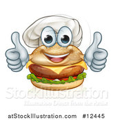 Vector Illustration of a Happy Cheeseburger Chef Character Giving Two Thumbs up by AtStockIllustration