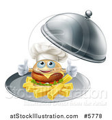 Vector Illustration of a Happy Cheeseburger Chef Holding Two Thumbs up on French Fries in a Platter by AtStockIllustration