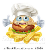 Vector Illustration of a Happy Cheeseburger Chef Holding Two Thumbs up over French Fries by AtStockIllustration