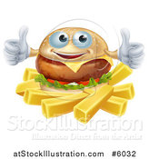 Vector Illustration of a Happy Cheeseburger Holding Two Thumbs up over French Fries by AtStockIllustration