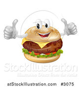 Vector Illustration of a Happy Cheeseburger Mascot Holding Two Thumbs up by AtStockIllustration