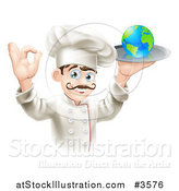 Vector Illustration of a Happy Chef Gesturing Ok and Holding a Globe on a Platter by AtStockIllustration