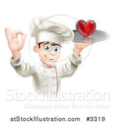 Vector Illustration of a Happy Chef Gesturing Ok and Holding a Heart on a Platter by AtStockIllustration