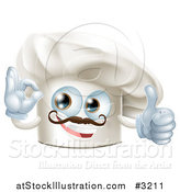 Vector Illustration of a Happy Chef Hat Mascot with a Mustache Holding a Thumb up and Gesturing Ok by AtStockIllustration