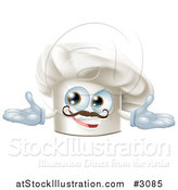Vector Illustration of a Happy Chef Hat Mascot with a Mustache Holding out His Arms by AtStockIllustration