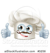 Vector Illustration of a Happy Chef Hat Mascot with a Mustache Holding Two Thumb up by AtStockIllustration