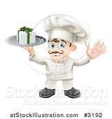 Vector Illustration of a Happy Chef Holding a Gift Box on a Platter by AtStockIllustration