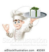 Vector Illustration of a Happy Chef Holding a Gift on a Platter and Gesturing Okay by AtStockIllustration