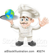 Vector Illustration of a Happy Chef Holding a Globe on a Platter by AtStockIllustration