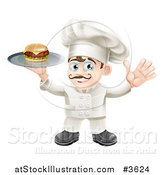 Vector Illustration of a Happy Chef Holding up a Cheeseburger on a Platter by AtStockIllustration