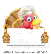 Vector Illustration of a Happy Chef Turkey Bird Holding a Blank Sign Board by AtStockIllustration