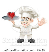 Vector Illustration of a Happy Chef Waving and Holding a Chef on a Platter by AtStockIllustration
