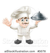 Vector Illustration of a Happy Chef Waving and Holding up a Platter by AtStockIllustration