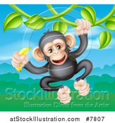 Vector Illustration of a Happy Chimpanzee Monkey Holding a Banana and Swinging from a Jungle Vine over a Valley by AtStockIllustration