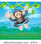 Vector Illustration of a Happy Chimpanzee Monkey Swinging from a Vine over a Valley by AtStockIllustration