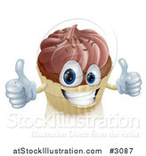 Vector Illustration of a Happy Chocolate Frosted Cupcake Holding Two Thumbs up by AtStockIllustration