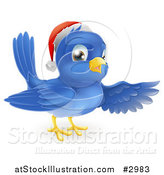 Vector Illustration of a Happy Christmas Blue Bird Wearing a Santa Hat and Presenting by AtStockIllustration