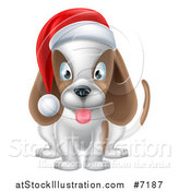 Vector Illustration of a Happy Christmas Dog Sitting and Wearing a Santa Hat by AtStockIllustration
