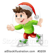 Vector Illustration of a Happy Christmas Elf Boy Ice Skating and Wearing a Santa Hat by AtStockIllustration