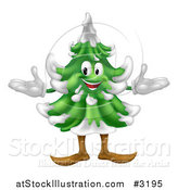 Vector Illustration of a Happy Christmas or Evergreen Tree Mascot by AtStockIllustration