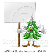 Vector Illustration of a Happy Christmas or Evergreen Tree Mascot Holding a Sign and Thumb up by AtStockIllustration