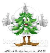 Vector Illustration of a Happy Christmas or Evergreen Tree Mascot with Two Thumbs up by AtStockIllustration