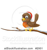 Vector Illustration of a Happy Christmas Robin Wearing a Santa Hat and Perched on a Branch by AtStockIllustration